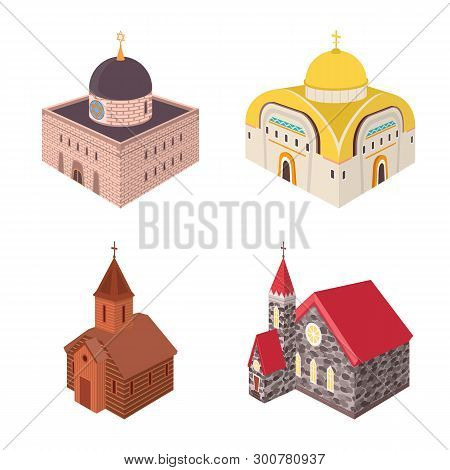 Isolated Object Of Architecture And Building Logo. Set Of Architecture And Clergy Stock Symbol For W