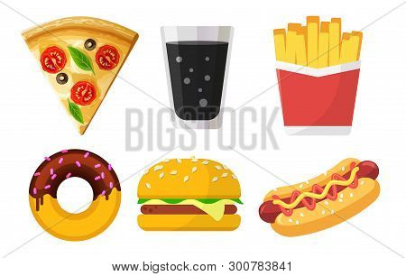 Set Of Colorful Fast Food Icons For Web Sites And Apps, Pizza, Soda, French Fries, Donut, Hamburger,