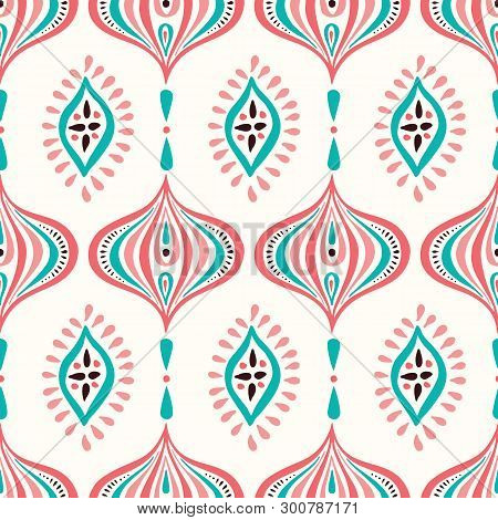 Classic Colorful Handdrawn Ogee And Diamonds Vector Seamless Pattern. Retro Blue And Pink Elegant Tr