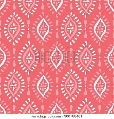 Monochrome Coral Boho Handdrawn Diamonds Vector Seamless Pattern. White And Pink Elegant Ethnic Trad