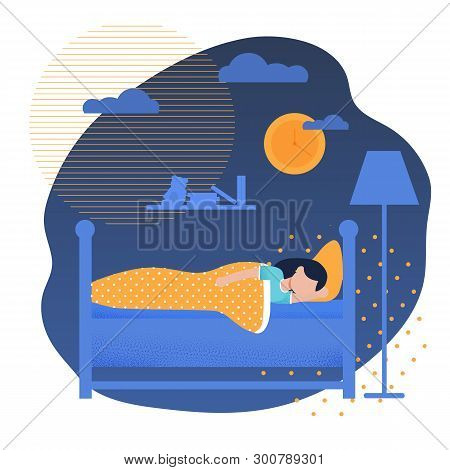 Sweet Girl Sleeping In Bed Under Blanket. Pretty Female Child Having Colorful Night Dreams. Happy Te