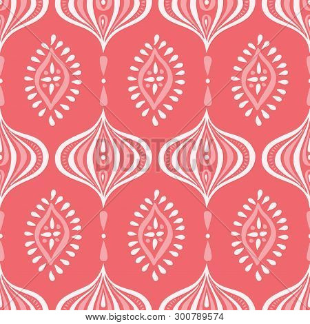 Boho Monochrome Handdrawn Ogee And Diamonds Vector Seamless Pattern. Retro Coral Elegant Traditional