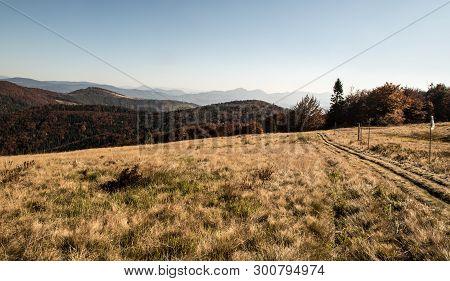 Hala Na Malej Raczy Mountain Meadow With Hills On Tha Background And Hiking Trail In Beskid Zywiecki