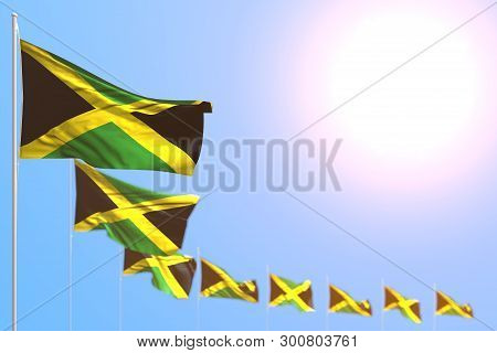 Nice Many Jamaica Flags Placed Diagonal With Bokeh And Empty Place For Text - Any Feast Flag 3d Illu