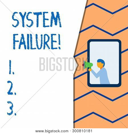 Conceptual Hand Writing Showing System Failure. Business Photo Text Occur Because Of A Hardware Fail