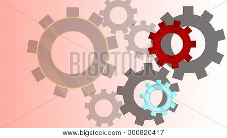 Abstract Techno Gear Background With Geometric Colorful Gear Wheels. Space For Gear Text. Vector Gea