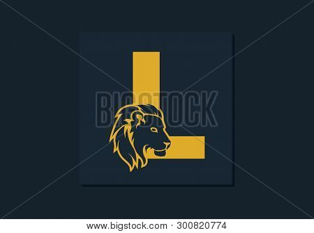Lion Head Inside Letter L. Abstract, Creative Emblem For Logotype, Brand Identity, Company, Corporat