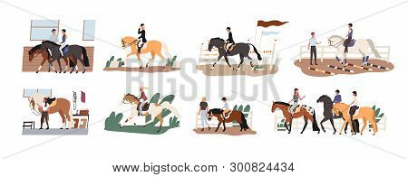 Collection Of People Riding Horses. Bundle Of Cute Men, Women And Children Practicing Horseback Ridi