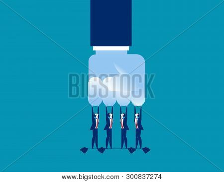 Challenge. Small Challenge Big Business. Concept Business Vector Illustration.