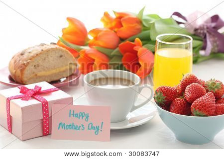 Mother's day breakfast with gift card,Closeup.