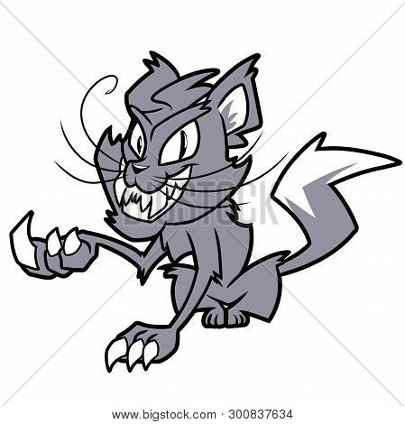 Illustration Of A Creepy Smiling Gray Cat On A White Background