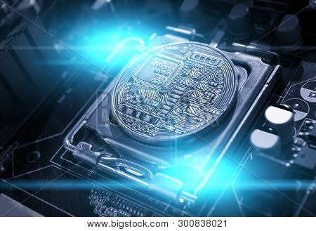 Bitcoin composition. Silver bitcoin among the electronic computer components, business concept of bitcoin digital cryptocurrency. Blockchain technology composition with bitcoin mining concept