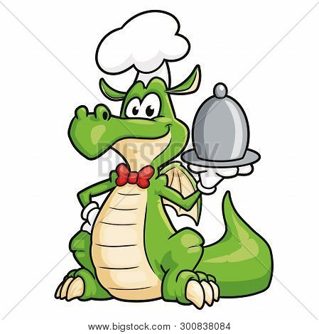 Illustration Of A Cute Dragon Chef On A White Background