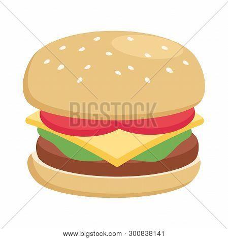 Illustration Of A Hamburger Flat Icon On A White Background