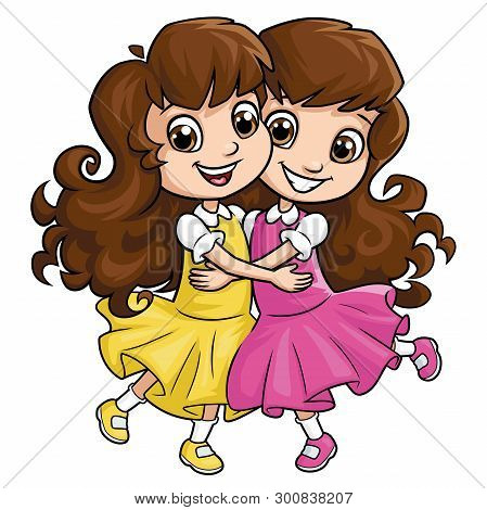 Illustration Of Two Happy Girl Sisters Hugging A White Background 2
