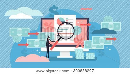 Cash Flow Vector Illustration. Flat Tiny Money Management Person Concept. Financial Wealth Payment A