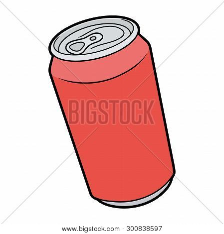 Illustration Of A Red Aluminum Can On A White Background
