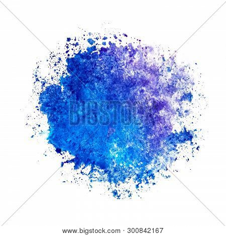 Watercolor Blue Ultramarine Round Spot Blot On A White Background Isolated As A Template, Frame, Exa