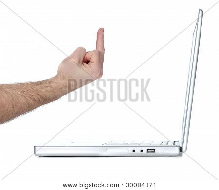 Flipping laptop the bird