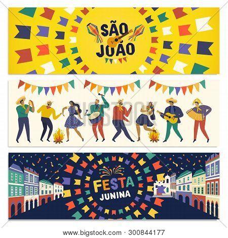 Brazilian Traditional Celebration Festa Junina. Portuguese Brazilian Text Saying Friends Village. Fe