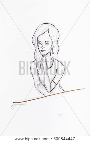Line Art Portrait Of Woman With Long Hair Hand-drawn By Pencils On White Paper