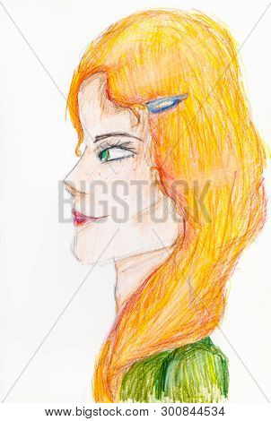 Portrait Of Irish Woman With Green Eyes And Yellow Hair Hand-drawn By Colour Pencils On White Paper