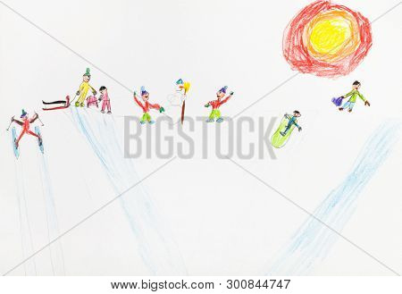 Children Play On Snow Hill In Sunny Winter Day Hand-drawn By Colour Pencils On White Paper