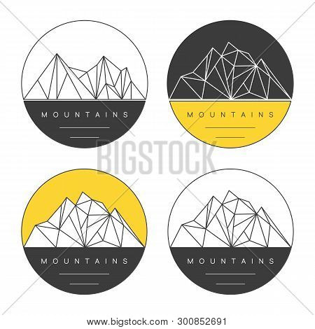 Round Emblems With Polygonal Mountain Ridges. Adventure Vector Set. Concept For Outdoor Labels, Prin