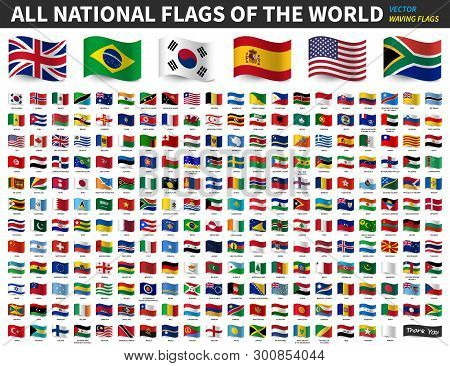 All National Flags Of The World . Waving Flag Design . Vector .