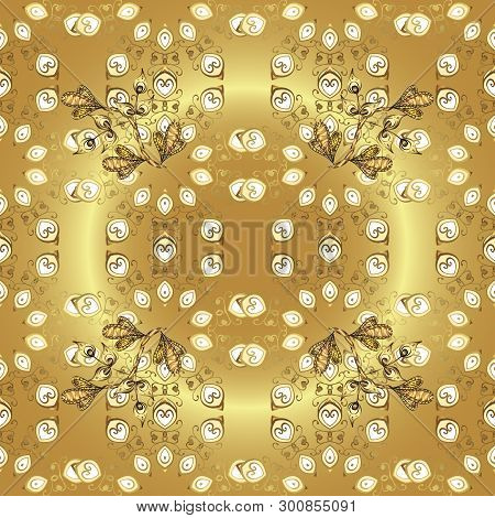 Golden Snowflake Simple Seamless Pattern. Vector Golden Pattern On Beige And Yellow Colors. Symbol O