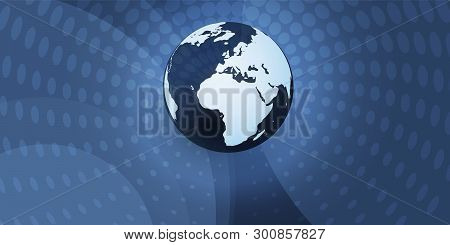 Earth Globe Design With Glowing Spotted Swirly Abstract Background - Global Business, Technology, Gl