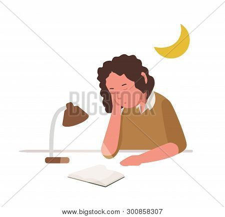 Young Girl Sleeping, Slumbering Or Dozing While Reading Book Or Preparing For School Lesson, Examina