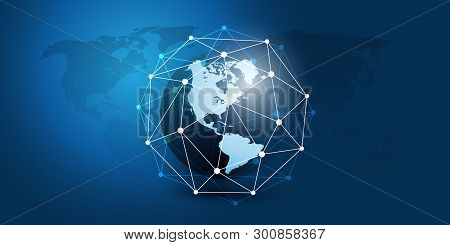 Cloud Computing And Networks Concept With North And South America Side Of The Earth Globe - Abstract
