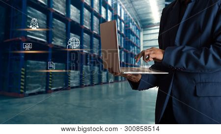 Businessman Manager Using Laptop Check Orders Online Goods Worldwide For Network With Modern Trade W
