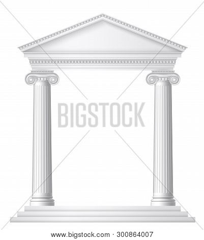 An Antique Roman Or Greek Temple With Ionic Columns Or Pillars. Eps 10 Contains Transparency.