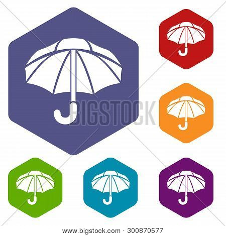 Nylon Umbrella Icons Vector Colorful Hexahedron Set Collection Isolated On White