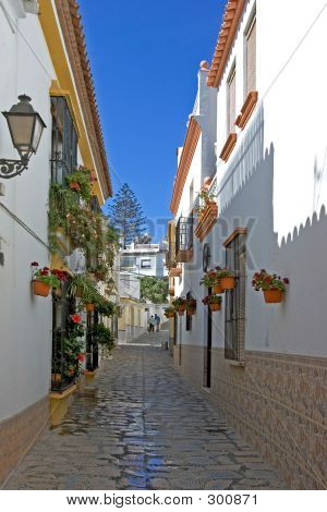 Narrow Cobbled Colourful Back Street In Estepona Spain