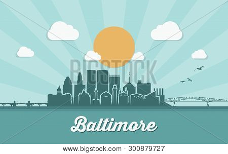 Baltimore Skyline - Maryland - Vector Illustration - Vector