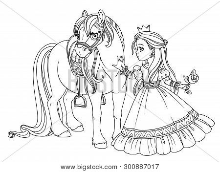 Beautiful Princess Stroking A Horse Outlined Picture For Coloring Book On White Background