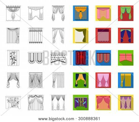 Different Kinds Of Curtains Outline, Flat Icons In Set Collection For Design. Curtains And Lambrequi