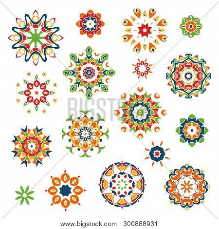 Mandalas Set. Round Floral Pattern. Vintage Ornament With Swirls. Arabic, Islam, Indian, Chinese,tur