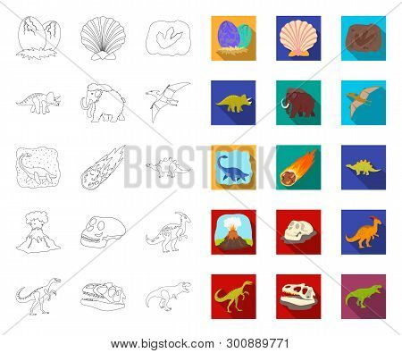 Different Dinosaurs Outline, Flat Icons In Set Collection For Design. Prehistoric Animal Vector Symb