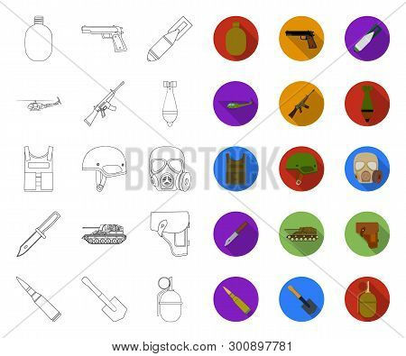Army And Armament Outline, Flat Icons In Set Collection For Design. Weapons And Equipment Vector Sym