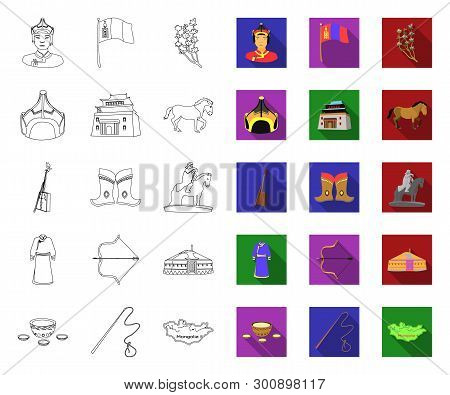 Country Mongolia Outline, Flat Icons In Set Collection For Design.territory And Landmark Vector Symb