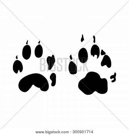 Stone Marten Footprint. Black Silhouette Design. Vector Illustration.