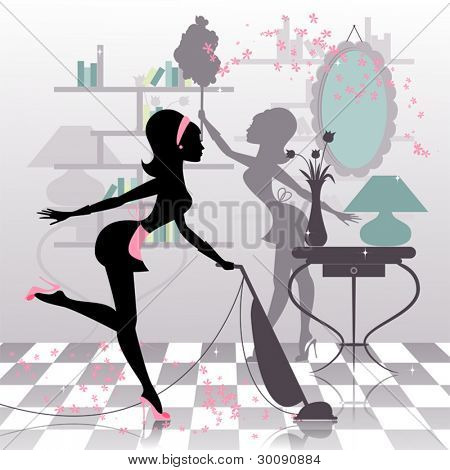 Sexy housewife's silhouette making spring cleaning