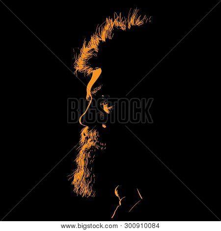Bearded Man Portrait Silhouette In Contrast Backlight. Illustration.