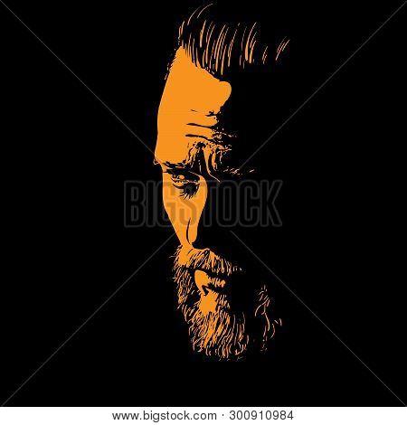 Bearded Man Portrait Silhouette In Backlight. Contrast Face. Illustration.