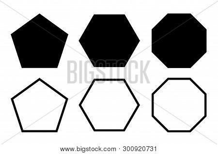 Pentagon, Hexagon, Octagon Icon. Vector Geometry Pentagonal, Hexagonal, Octagonal Polygon. Five, Six