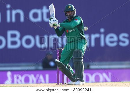 SOUTHAMPTON, ENGLAND. MAY 11 2019: Asif Ali of Pakistan plays a shot during the England v Pakistan, 2nd ODI